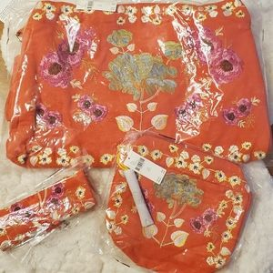 Bundle of 3 Anthro Blossom Embroidered Tote Set